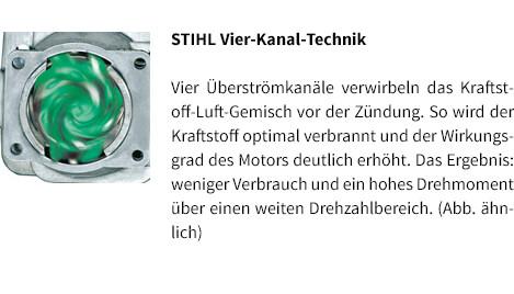 STIHL Vier-Kanal-Technik STIHL Benzin-Motorsäge MS 180