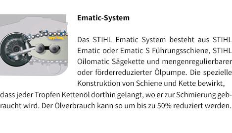 Ematic-System STIHL Benzin-Motorsäge MS 231