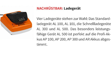Nachrüstbar: Ladegerät STIHL Akku-Motorsäge MSA 120 C-BQ