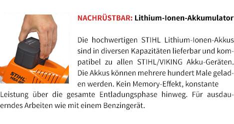 Nachrüstbar: Lithium-Ionen-Akku STIHL Akku-Motorsäge MSA 120 C-BQ