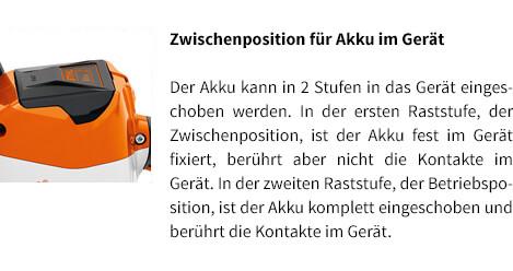 Zwischenposition für Akku im Gerät STIHL Akku-Motorsäge MSA 120 C-BQ
